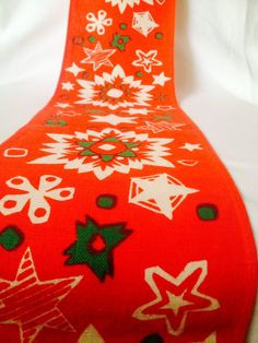 60s Swedish christmas retro vintage windowsill or table runner. Mid century with a nice pattern.