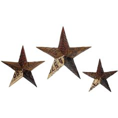 Give your wall decor a retro accent with this fantastic set of three metal stars created from reproduction automobile license plates. Embossed numbers with glim...
