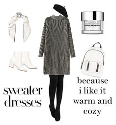 """""""Untitled #50"""" by pichimichiko on Polyvore featuring Accessorize, Gianvito Rossi, New Look, Loewe, Clinique, blackandwhite and sweaterdress Warm Dresses, Loewe, Warm And Cozy, New Look, Polyvore, Sweaters, Fashion, Moda, Fashion Styles"""