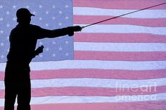 Silhouette of a Fisherman Holding a Fishing Pole fly fishing with a background of a #USA American red white and blue #flag.   #FineArt #Photography #artwork #Gallery #interiordesign #commercialart - #Photo #Art from #Colorado to decorate your office, home, restaurant, boardroom, waiting room or any commercial space starting at $22 - #CorporateArt by #Photographer Copyright James Insogna www.BoInsogna.com