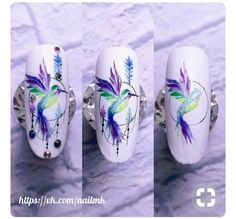 trendy nails art gel tutorial step by step Bird Nail Art, Animal Nail Art, Gel Nail Art, Nail Art Designs, Simple Nail Designs, Nails Design, Water Color Nails, Trendy Nail Art, Manicure E Pedicure