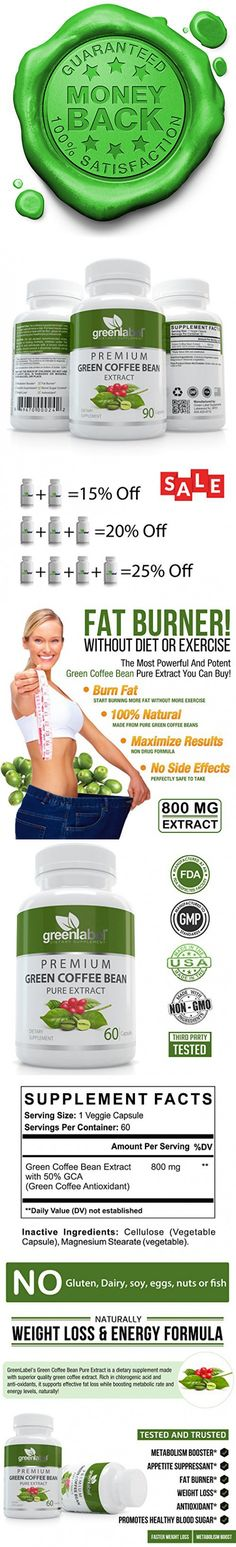 Premium Green Coffee Bean Extract For Weight Loss Pills, Natural Diet Pills And Appetite Suppressant For Weight Loss, Metabolism Booster And Blood Sugar Support.