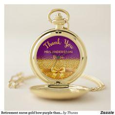 Retirement nurse gold bow purple thank you pocket watch