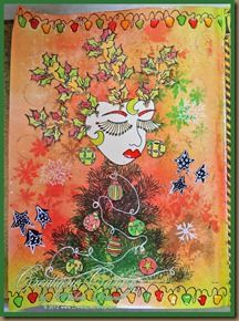 Christmas Tree Holly using #Dylusions #ArtJournaling #heARTistry