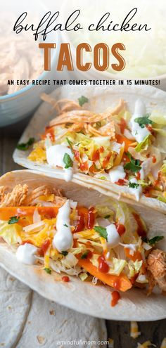 Bring a spicy kick to your taco night with these Easy Buffalo Chicken Tacos! Made with Buffalo Chicken, this easy taco recipe is always a crowd pleaser! Dinner Recipes Easy Quick, Paleo Recipes Easy, Mexican Food Recipes, Summer Recipes, Easy Meals, Pre Cooked Chicken, Easy Baked Chicken, Chicken Recipes, Buffalo Chicken Tacos