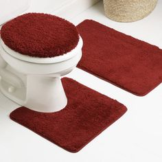 Dark Red Bathroom Rugs Set