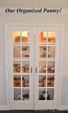 pantry - love the doors, dark floors, slat ceiling... everything!