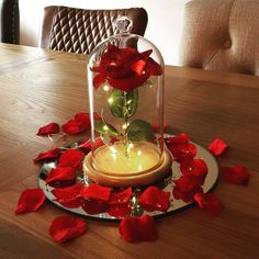 Items similar to Enchanted rose bell jar beauty and the beast inspired on Etsy Beauty And Beast Birthday, Beauty And The Beast Theme, Beauty And Beast Wedding, Beauty And The Best, Disney Beauty And The Beast, Sweet 16 Centerpieces, Sweet 16 Decorations, Quince Decorations, Floral Centerpieces