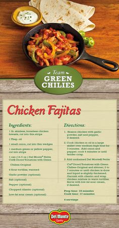 Chicken Fajitas - This dish brings the sizzle, heat, and flavor your family is looking for at dinner. My Recipes, Mexican Food Recipes, Chicken Recipes, Dinner Recipes, Cooking Recipes, Healthy Recipes, My Favorite Food, Favorite Recipes, Western Food