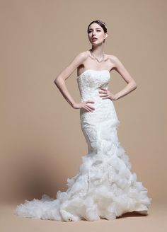 Strapless Mermaid Lace Wedding Dress  Read More:     http://www.weddingspnina.com/index.php?r=strapless-mermaid-lace-wedding-dress.html