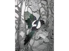 Embellished and embroidered Magpie by Karen Nicol