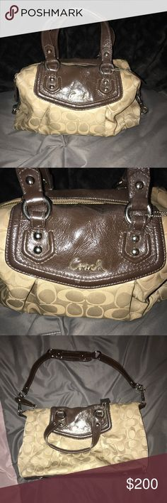 Coach Satchel This zip-top Ashley Sabrina satchel by Coach features a signature Coach print with mahogany patent leather trim details. This handbag has silvertone hardware accents and multiple inner pockets to keep your belongings organized. Gently used with slight wear shown on outside Coach Bags Satchels
