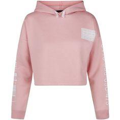 New Look Teens Pink Brooklyn Print Cropped Hoodie ($20) ❤ liked on Polyvore featuring tops, hoodies, pink, hoodie top, sweatshirt hoodies, pink hoodies, pink crop top and crop top