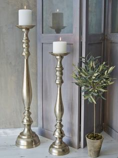 Silver Metal Duo Turned Wood Style Floor Candle Holders Tall Gl