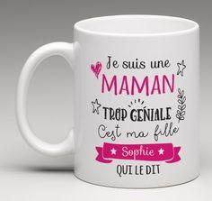 Je suis maman trop géniale - Mug personnalisé : Vaisselle, verres par le-monde-de-bibou