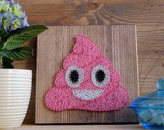 Modern funny poop emoji wall decor pink girly hispter