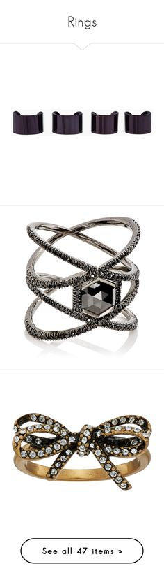 """""""Rings"""" by random11-1 ❤ liked on Polyvore featuring jewelry, rings, accessories, fillers, black, wide band rings, brass jewelry, maison margiela ring, adjustable rings and set rings"""