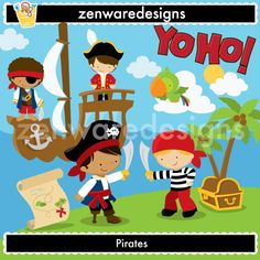 Little Pirates Clipart by ZenwareDesigns on Etsy Pirate Theme, Pirate Party, Girls Pirate Parties, Pirate Cookies, Zen, Pirate Boats, Girl Pirates, Decoupage, Feltro