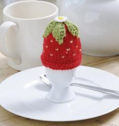 strawberry egg cozy ~ LINK CORRECT and pattern is FREE when I checked on 04/09/2015. ~ You have to join to obtain patterns. (free) 04/09/2015 KNITTED ITEM