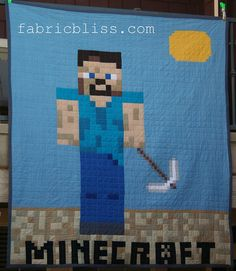 Minecraft Quilt DIY project - Steve by fabric.bliss, via Flickr