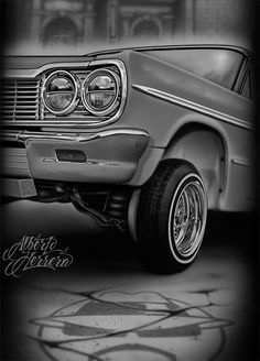 Chicano Drawings, Chicano Tattoos, Car Drawings, Skull Tattoos, Chicano Love, Chicano Art, Estilo Cholo, Arte Lowrider, David Gonzalez
