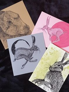 Ink and acrylic drawings as greeting cards