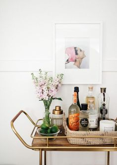 """Visit our site for additional relevant information on """"bar cart decor inspiration"""". It is actually an exceptional place to read more. Diy Bar Cart, Gold Bar Cart, Bar Cart Styling, Bar Cart Decor, Bar Carts, Apartment Therapy, Daisy, Outside Bars, Decor Inspiration"""