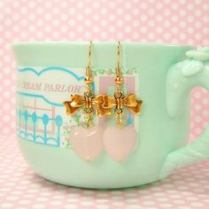 Antique Gold Light Pink Glass Earrings