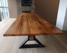 The Executive – Conference Table from Reclaimed Oak and Modern Industrial Metal Base - Farmhouse table Wood Slab Dining Table, Rustic Dining Chairs, Trestle Dining Tables, Solid Wood Table, Rustic Table, Farmhouse Table, Industrial Metal Table Legs, Modern Industrial, Industrial Pipe