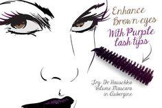 brown eyes makeup tip purple lashes 1