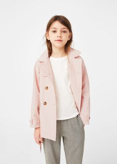 Cotton-blend fabric Loops on the cuffs Long sleeve Removable belt Button fastening on the front section Twin buttoned flap pockets at front Inner lining Kids Usa, Cute Outfits For School, Kids Coats, Latest Fashion Trends, Trench, Mango, Duster Coat, Girl Fashion, Raincoat