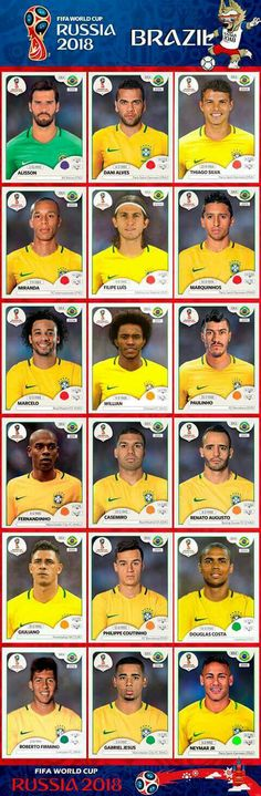 World Cup Brazil national team Panini stickers Football 2018, Brazil Football Team, Brazil Team, Neymar Brazil, Best Football Team, National Football Teams, Football Soccer, Brazil Brazil, Brazil World Cup