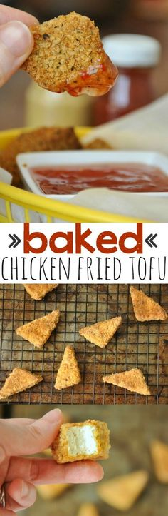 Baked Chicken Fried Tofu - Vegetarian Nuggets with a Twist! - - Baked Chicken Fried Tofu - Vegetarian Nuggets with a Twist! Vegetarian Nuggets, Vegan Vegetarian, Vegetarian Recipes, Veggie Nuggets, Vegan Food, Tofu Recipes, Cooking Recipes, Healthy Recipes, What's Cooking