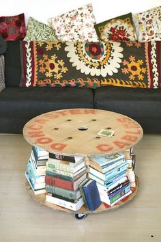 Repurposed Wire Spool Ideas - Spool Coffee Table with Wheels