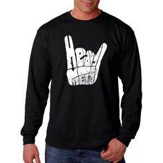 Los Angeles Pop Art Big Men's Long Sleeve T-shirt - Heavy Metal, Size: 2XL, Black