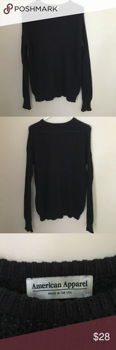 American Apparel Black Fisherman Pullover Sweater -Black Crew Neck Ribbed Sweater-Minor Snag in the Front and Back of Sweater-Washed and Worn only a few times American Apparel Sweaters Crew & Scoop Necks