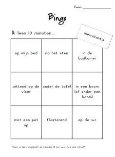 Bingokaart voor de meivakantie. Leuk om de eerste schooldag na de vakantie te kijken welke kinderen de bingokaart vol hebben.