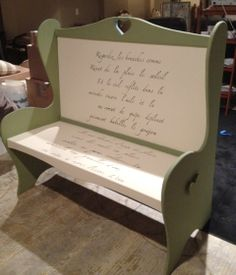 Cottage Paint Pea Soup and Antique White with french script stencil