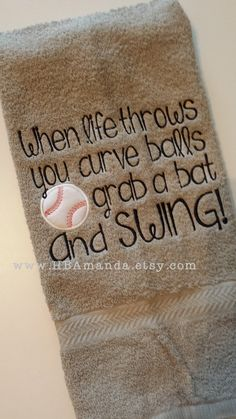 """Baseball Quote Towel – """"When Life throws you curve balls grab a bat and swing"""" – Sports Towel – Baseball gift towel Baseball Quote Towel When Life throws you curve balls by HBAmanda Baseball Tips, Baseball Crafts, Baseball Quotes, Baseball Party, Baseball Season, Baseball Mom, Baseball Shirts, Baseball Players, Baseball Field"""