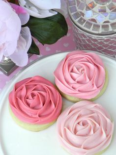 Sweet Sugar Cookies with Ombre Pink Rosette Buttercream Frosting. 9 for $18 at Sweet on Hearts Etsy Shop.
