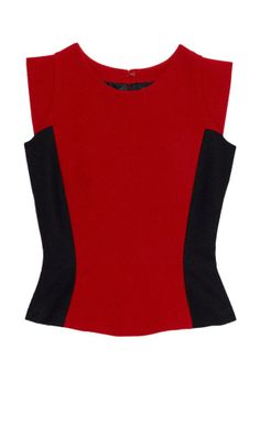 18c6a4527be2e Contrast-colour Fitted Top in Red and Black