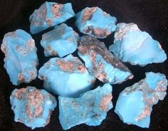"Sleeping Beauty Turquoise - The Sleeping Beauty mine located in Globe, Arizona is an active mine producing a wide range of turquoise that is highly prized for it's solid soft blue color, with little or no matrix. The color of the turquoise ranges from royal blue to a light sky blue. The mine originally was worked for copper & gold. Recently, it has produced gemstone quality turquoise in quantities to satisfy the market. The miners lease portions of the ""dumps"" & sort turquoise from there. <3"