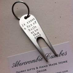 Golf Pitchfork - Golfers Gift - Hand Stamped Stainless Steel Golf Keyring - Personalised Keychain - Made in England - Delivered Worldwide