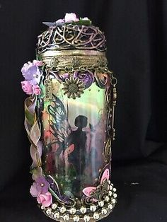 Fairy In A Jar Light ,pixie,magical,OOAK, Mythical,fantasy,Gift  | eBay Fantasy Gifts, Power Colors, Fairy Jars, Color Changing Lights, Baby Fairy, Beautiful Fairies, Jar Lights, Pixie, Gothic