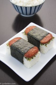 A Hawaiian Fave ~ Spam Musubi  I love these BUT there must be a healthier recipe out there!!!!!!