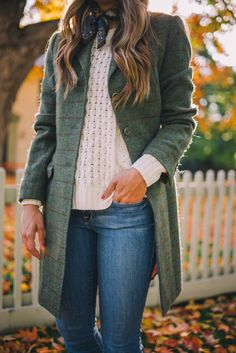 skinny jeans + cable knit sweater + tweed jacket