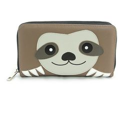 Sleepyville Critters Brown & Black Sloth Wallet ($20) ❤ liked on Polyvore featuring bags, wallets, pocket wallet, faux-leather bags, animal bags, brown wallet and fake bags