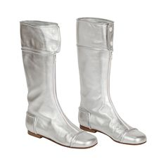 1990s Iconic Courreges Silver Leather Go-Go Boots Size 39 | 1stdibs.com