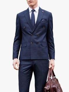 ff1038633 The Benetti Weller Double Breasted Stripe Suit in Navy 2 Piece slim fit  stripe suitAll over