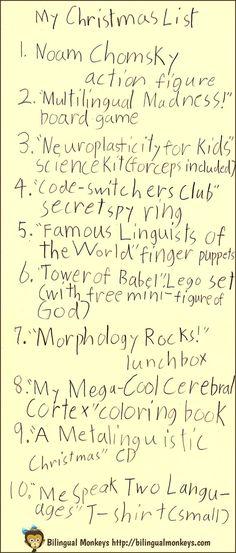 A Bilingual Child's Christmas List